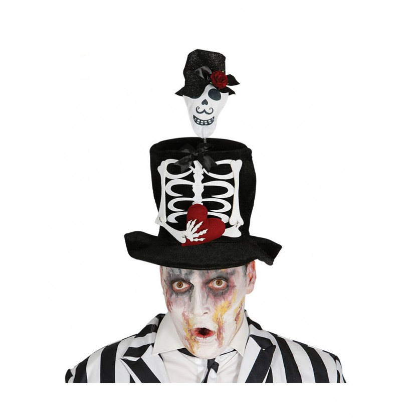 Chistera con esqueleto muerte mexicana para hombre