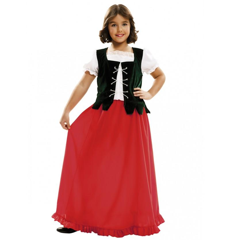 Disfraz de doncella Dulcinea para niña