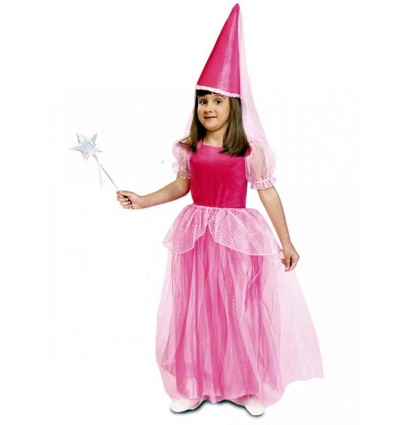 Disfraz de hada rosa de cuento para niña