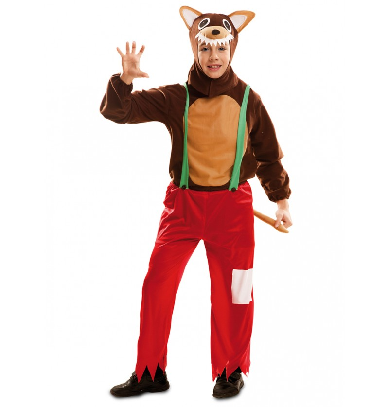 Disfraz de lobo feroz de cuento para niño