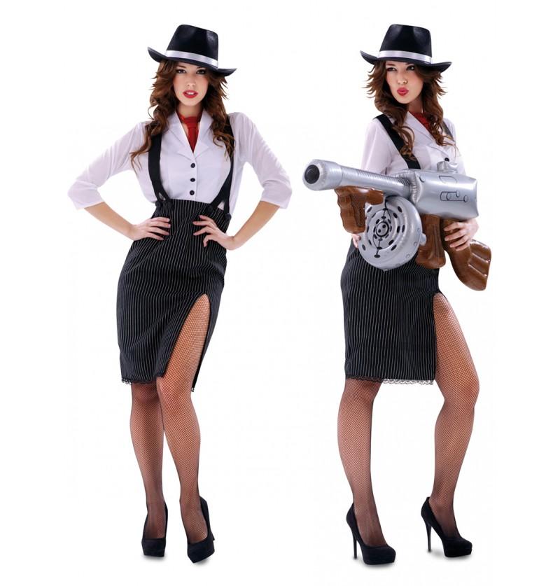 Disfraz de gángster elegante para mujer