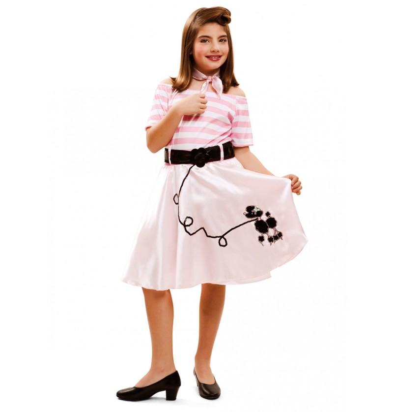 Disfraz de joven a la moda años 50 para niña