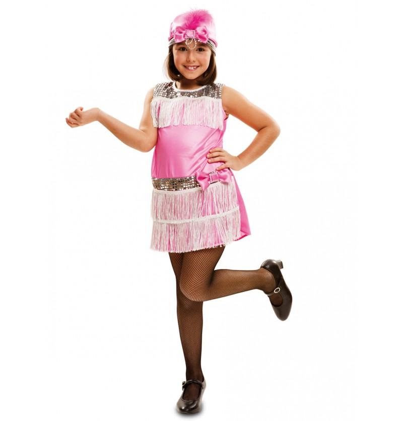 Disfraz de Charlestón rosa para niña