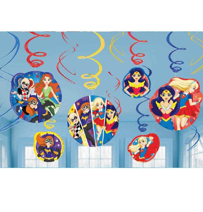 set de 12 adornos colgantes dc super hero girls