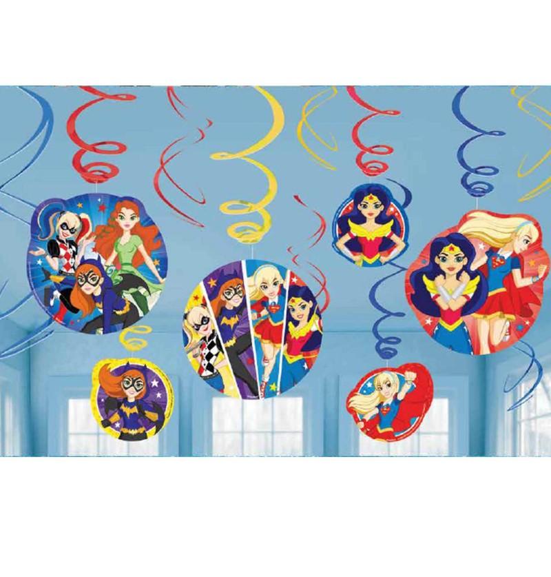 set de 12 adornos colgantes dc super hero girls
