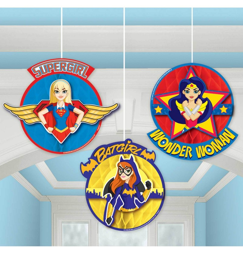 set de 3 decoraciones colgantes de panel de abeja dc super hero girls