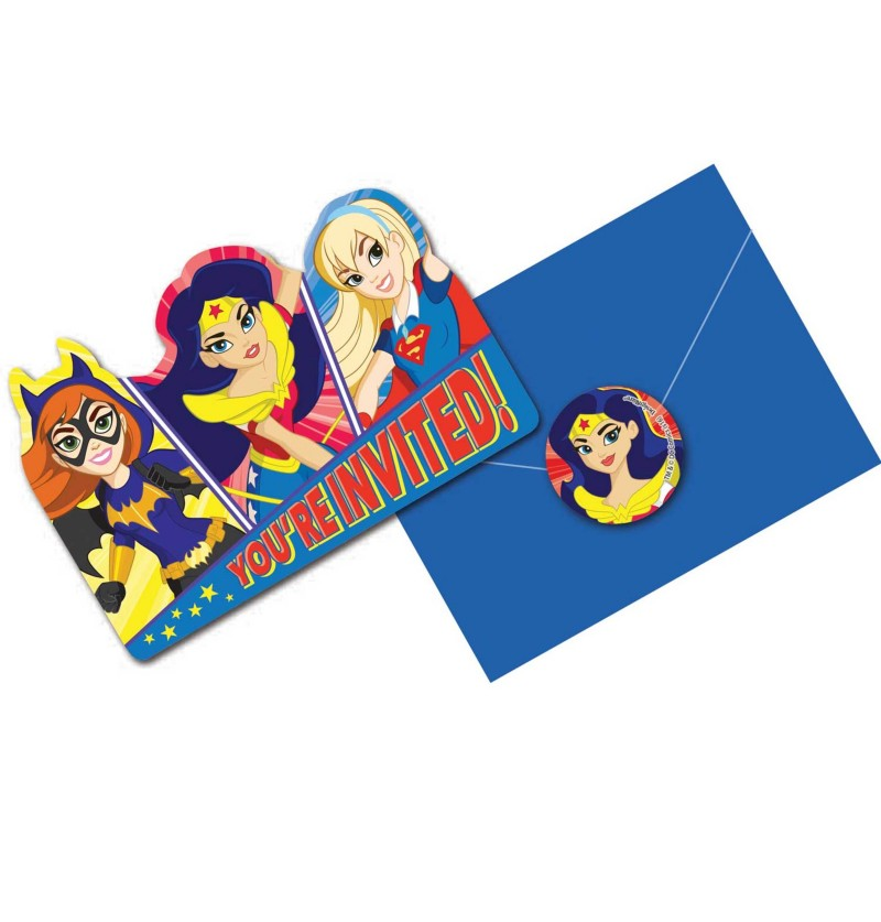 set de 8 invitaciones dc super hero girls
