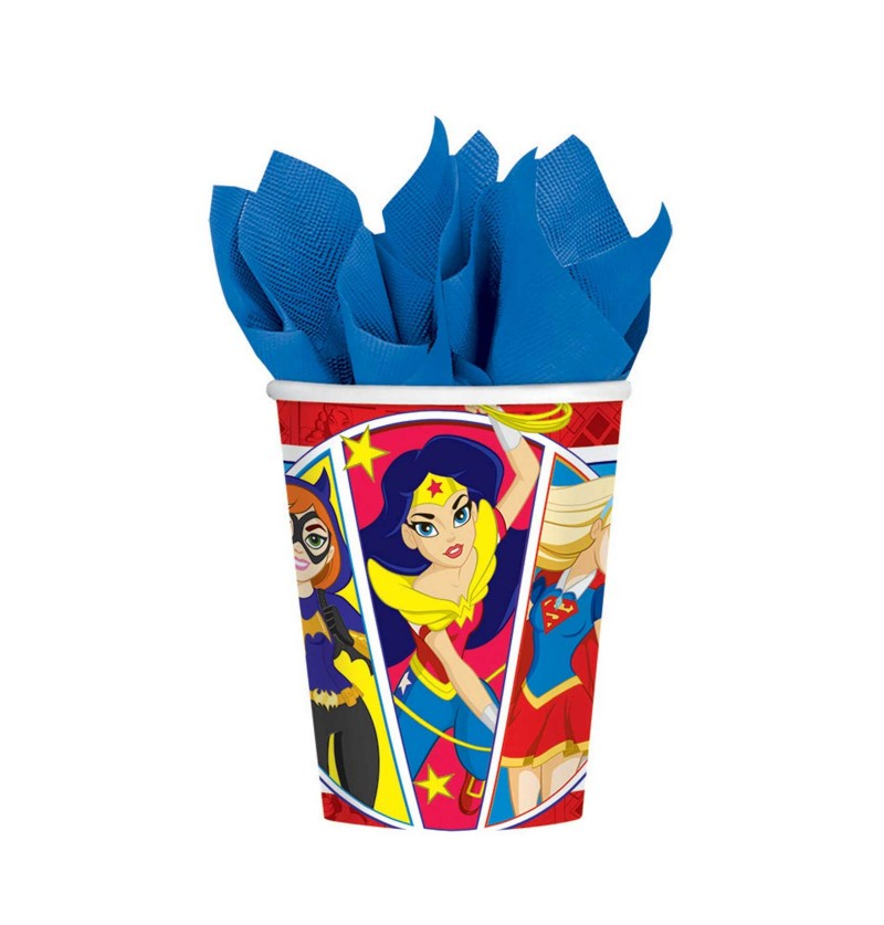set de 8 vasos dc super hero girls