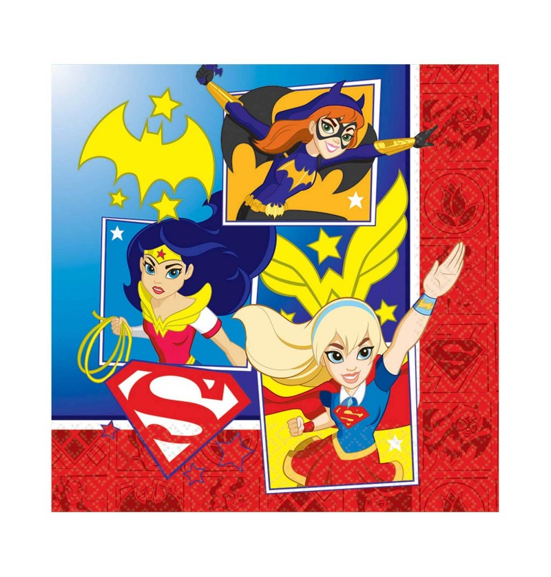 set de 16 servilletas dc super hero girls