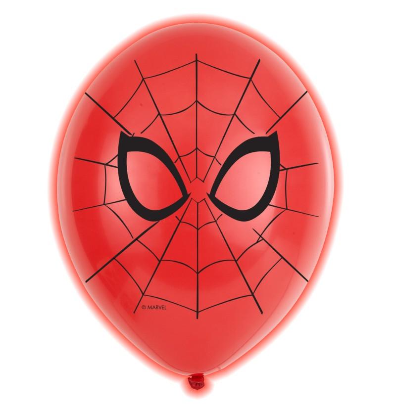 set de 5 globos de ltex led de spiderman