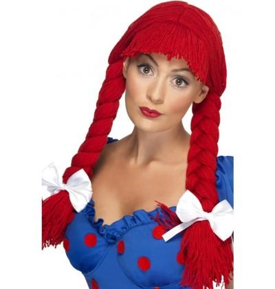 peluca de mueca de trapo roja con trenzas y lazo para mujer