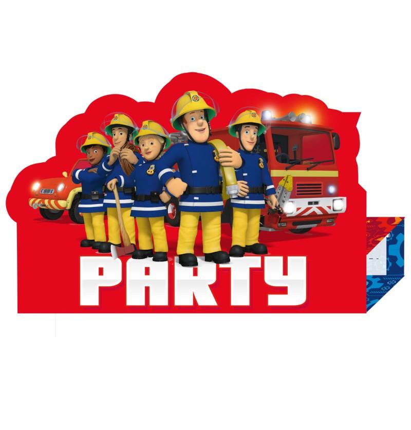set de 8 invitaciones de sam el bombero