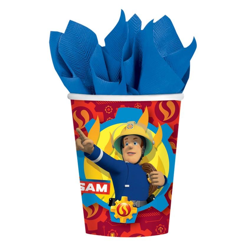 set de 8 vasos de sam el bombero