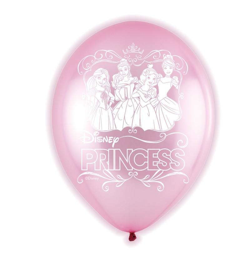 set de 5 globos rosas de ltex led de princesas