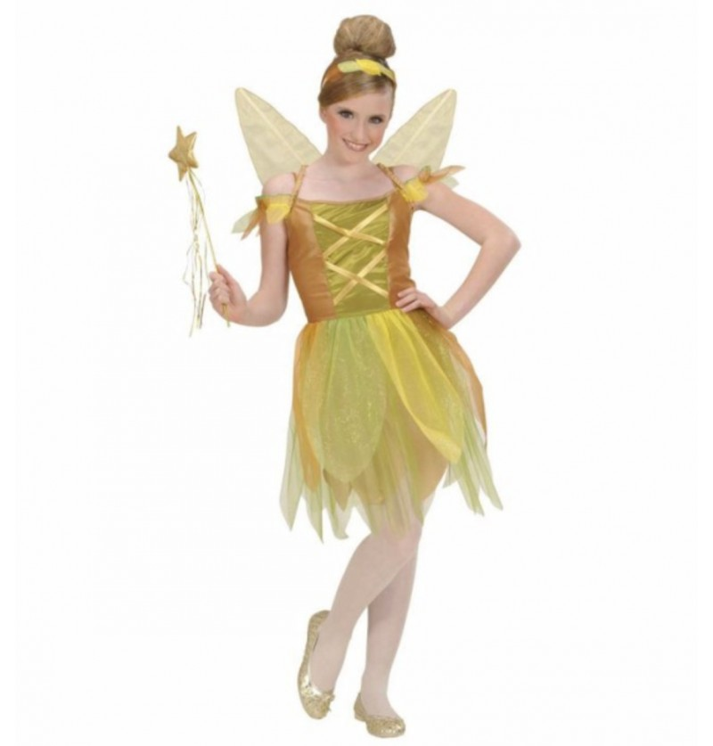 Disfraz de hada dorada del bosque para niña