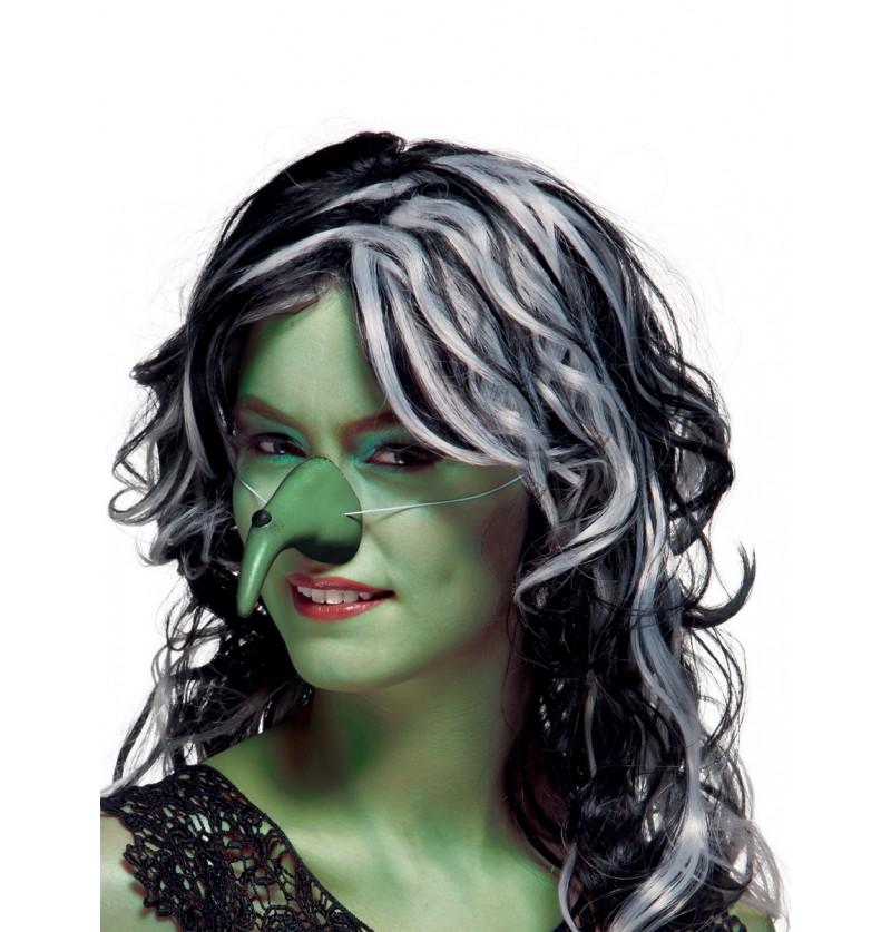 Nariz de bruja verde con verruga para mujer