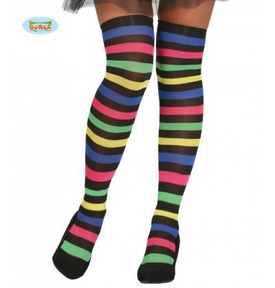 medias de bruja de rayas multicolor para mujer