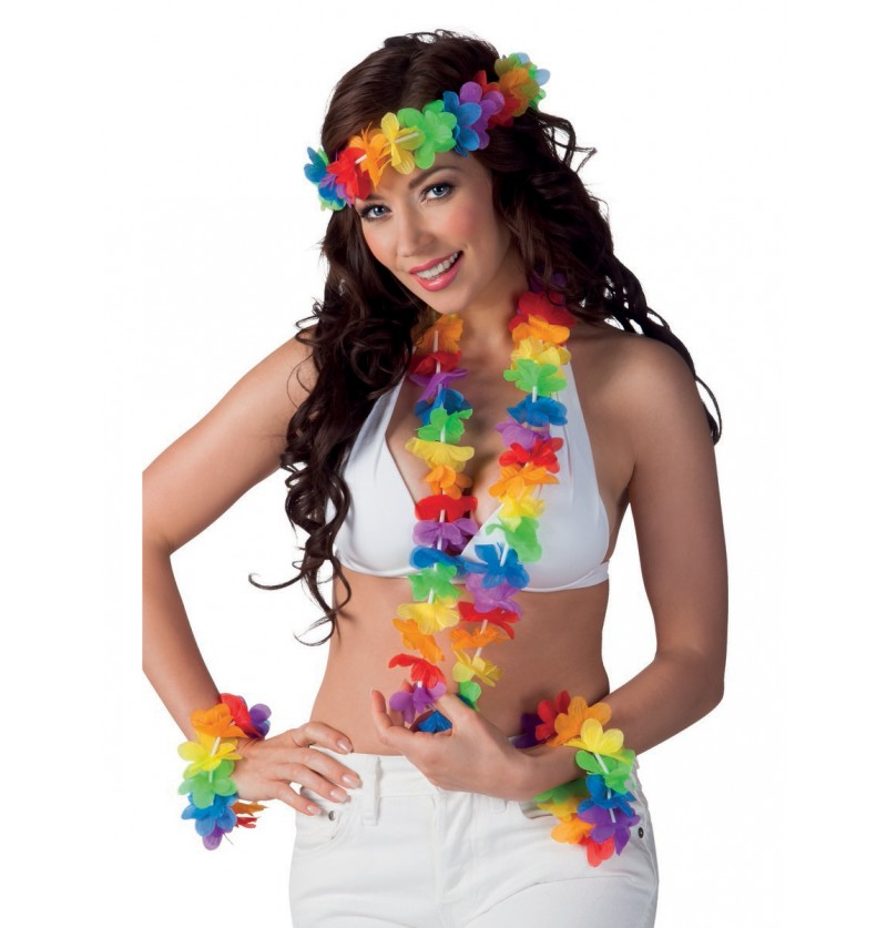 Set Hawaiano multicolor para adulto