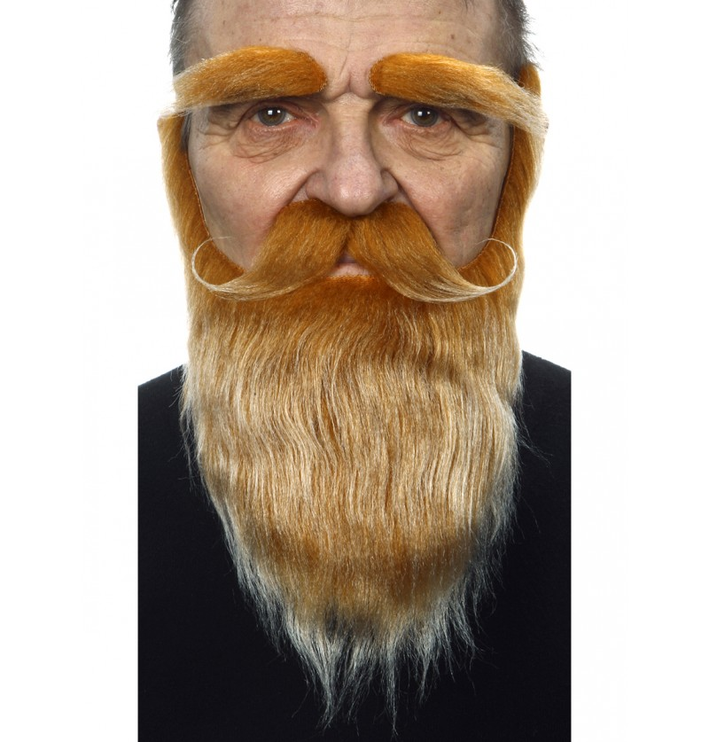 Barba, bigote y cejas pelirroja para adulto