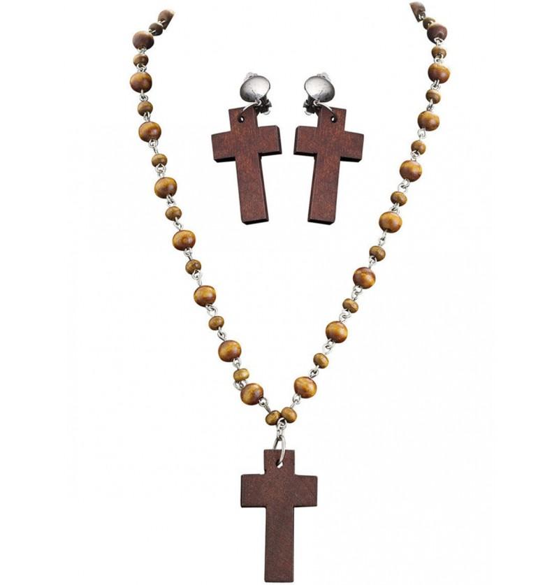 Pendientes y rosario de religioso para adulto