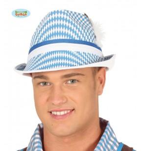 sombrero oktoberfest blanco y azul para adulto