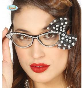 gafas con brillantes y lazo plateados para mujer