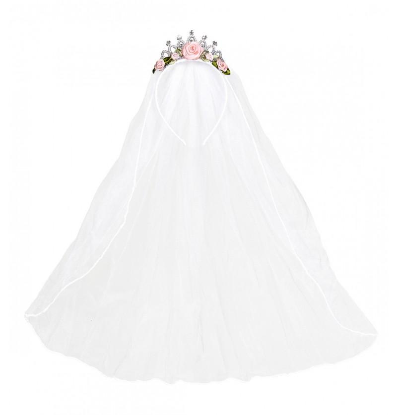 Velo de novia con corona y flores para mujer
