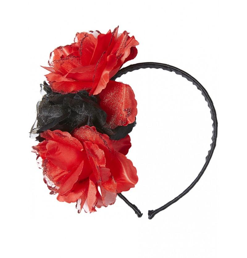 Diadema con flores rojas y negra para adulto