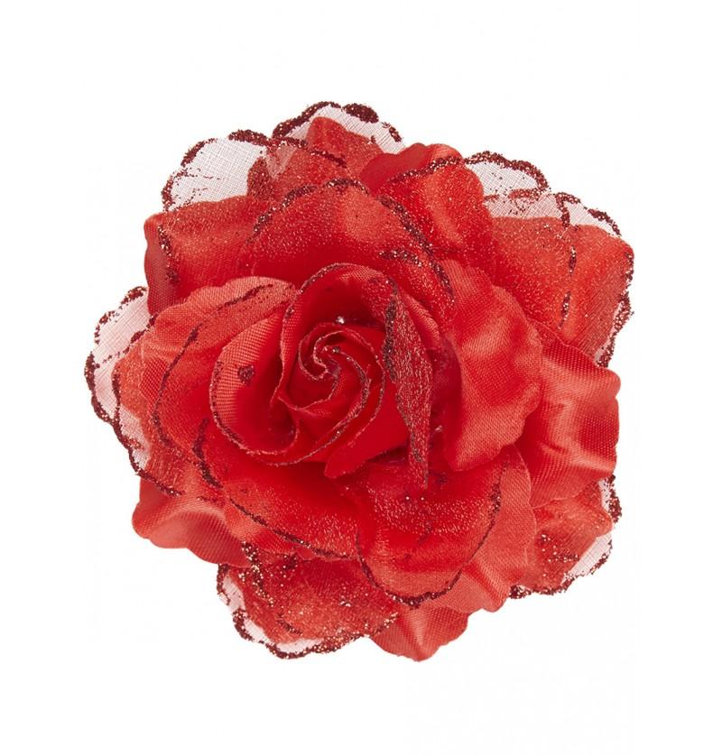 Flor roja para el pelo