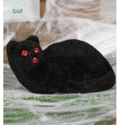 figura decorativa de gato negro de ojos rojos