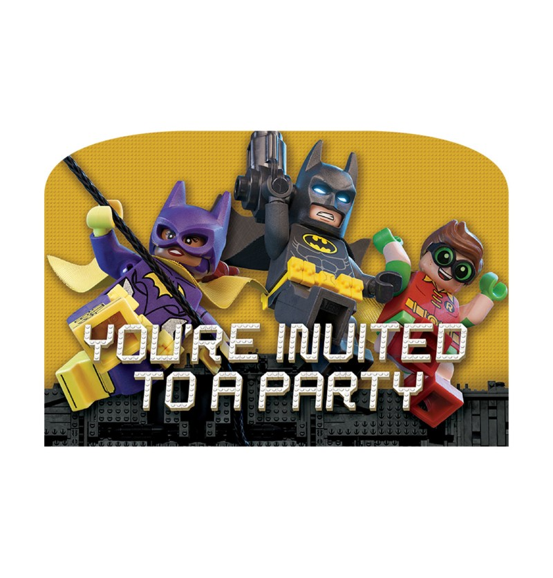 set de 8 invitaciones batman la lego pelcula