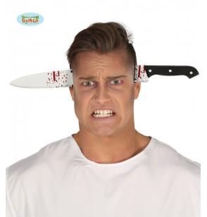 diadema de cuchillo atravesado ensangrentado para adulto