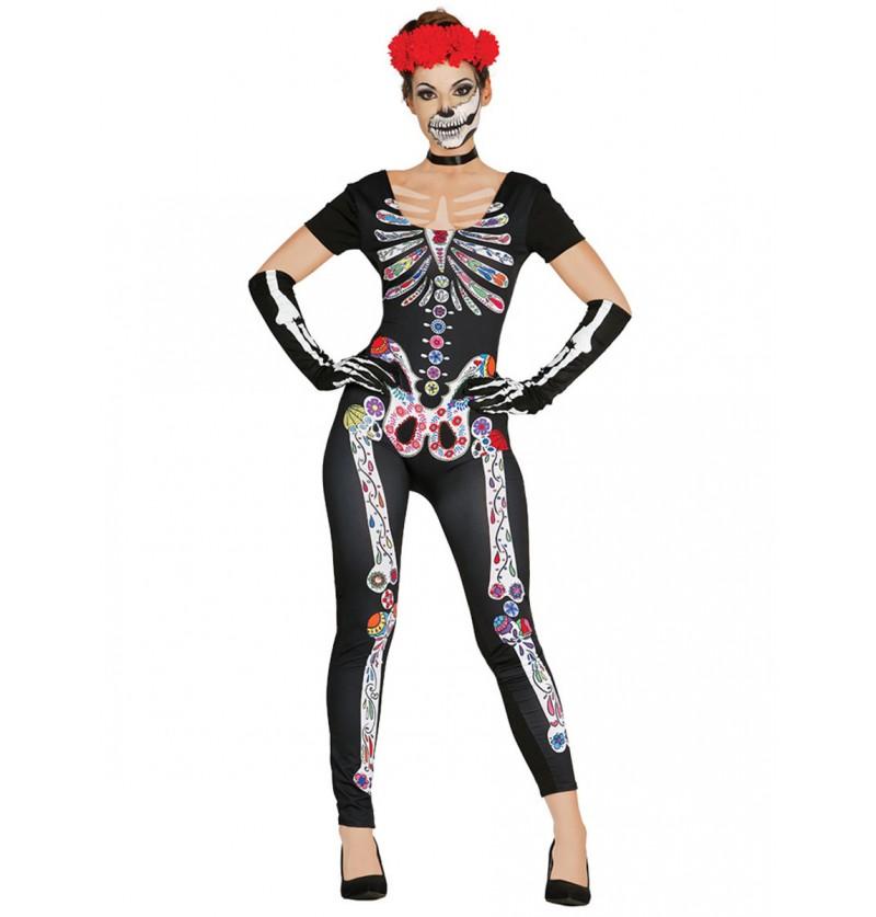 Disfraz de esqueleto mexicano para mujer