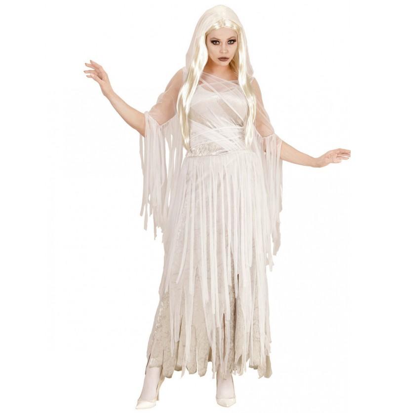 Disfraz de espíritu fantasmal para mujer talla grande