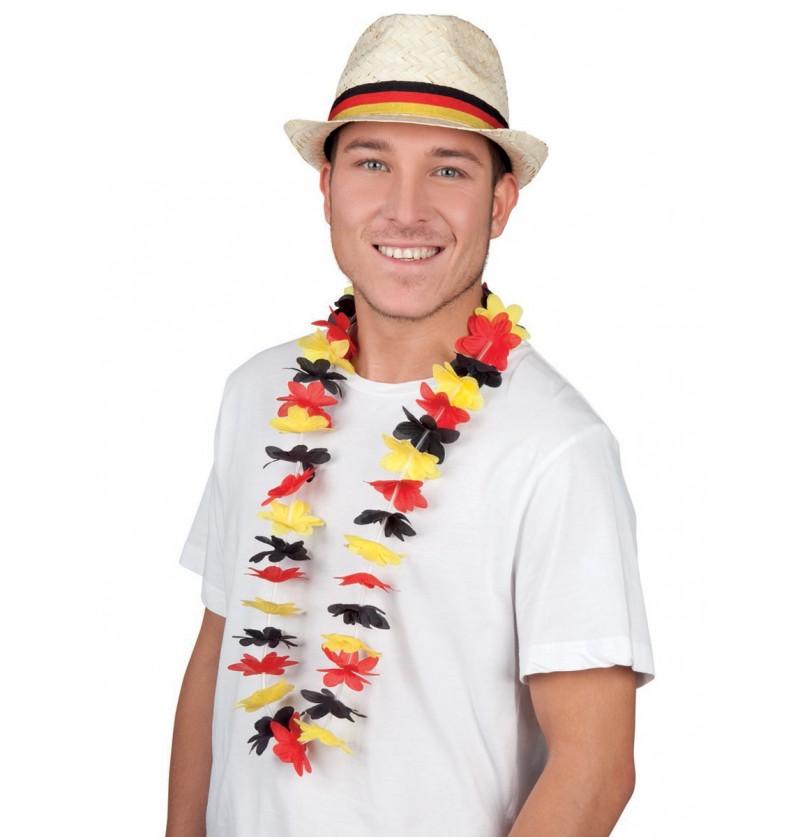 Collar de flores tricolor rojo, negro y amarillo