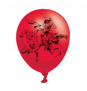 set de 6 globos de ltex variados de la liga de la justicia