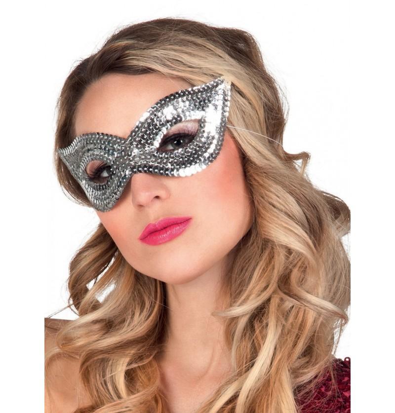 Antifaz plateado de lentejuelas para mujer