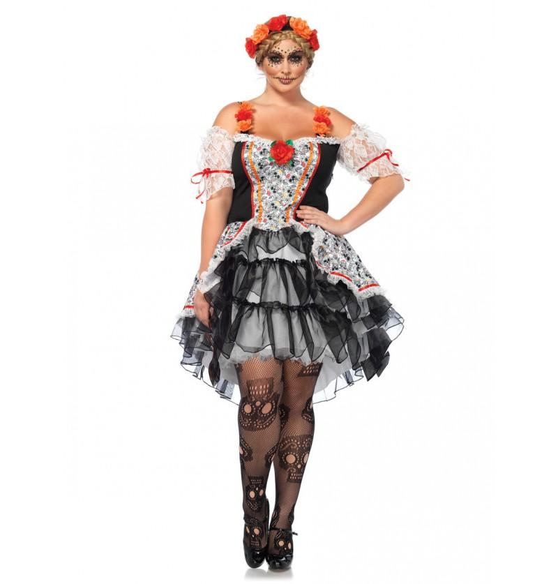 Disfraz de Catrina para mujer talla grande