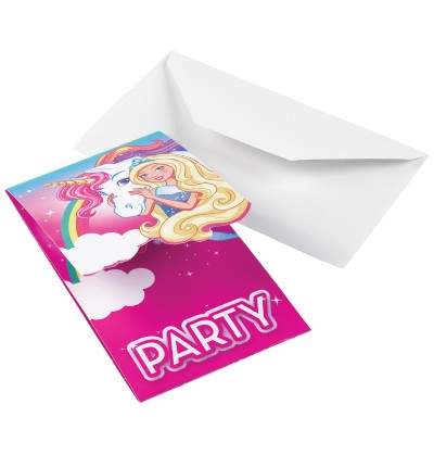 set de 8 invitaciones de barbie dreamtropia