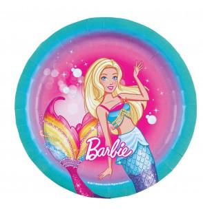 set de 8 platos pequeos de barbie dreamtropia