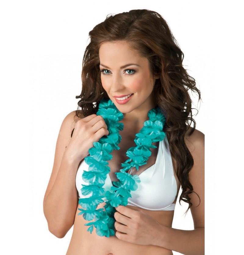 Collar hawaiano turquesa para adulto