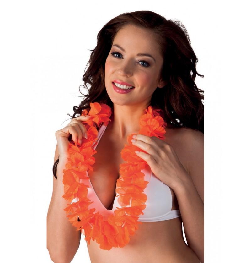 Collar hawaiano naranja para adulto