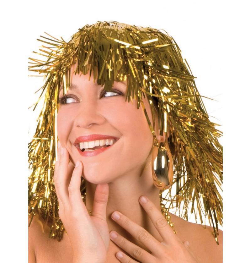 Peluca dorada brillante festiva para adulto