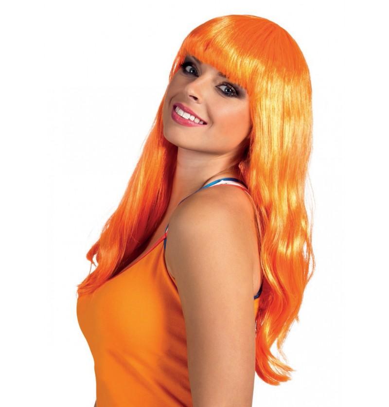 Peluca larga lisa naranja para adulto