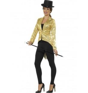 chaqueta de lentejuelas dorada para mujer