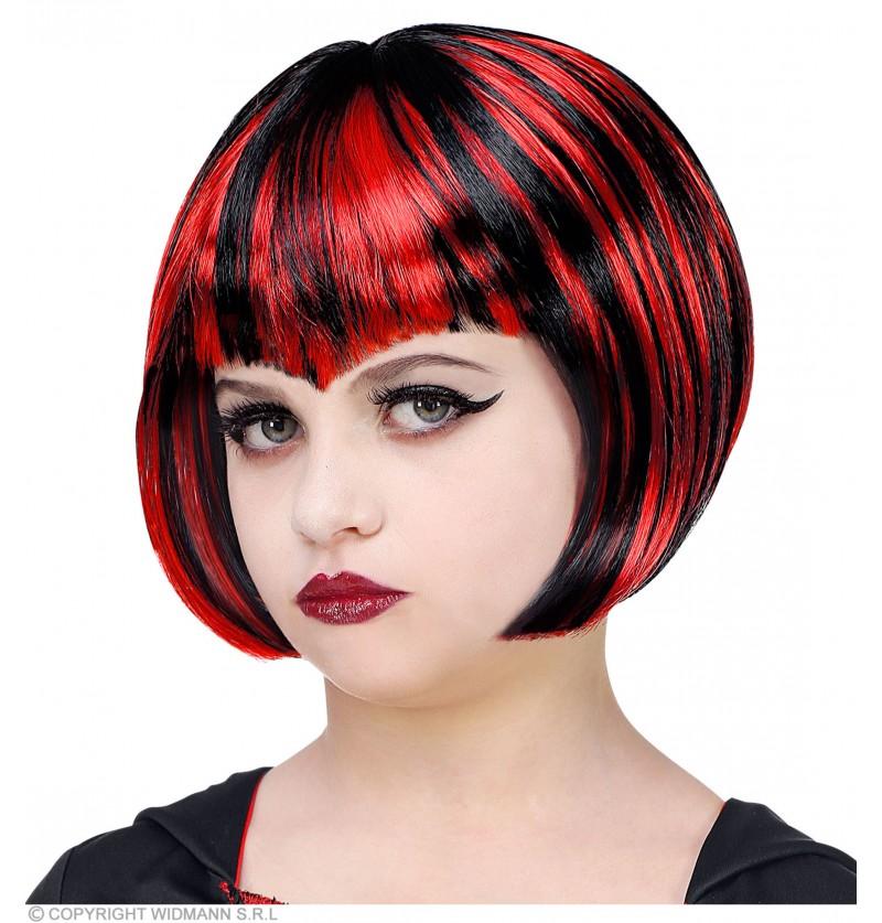 peluca de vampiresa roja y negra para nia