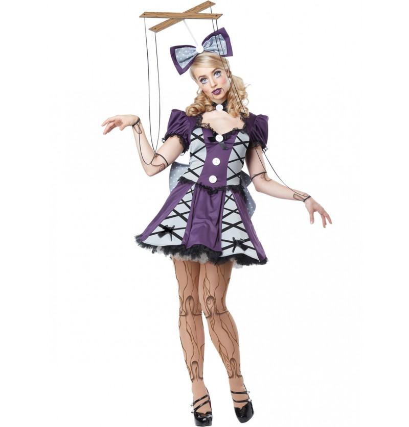 Disfraz de marioneta con hilos para mujer