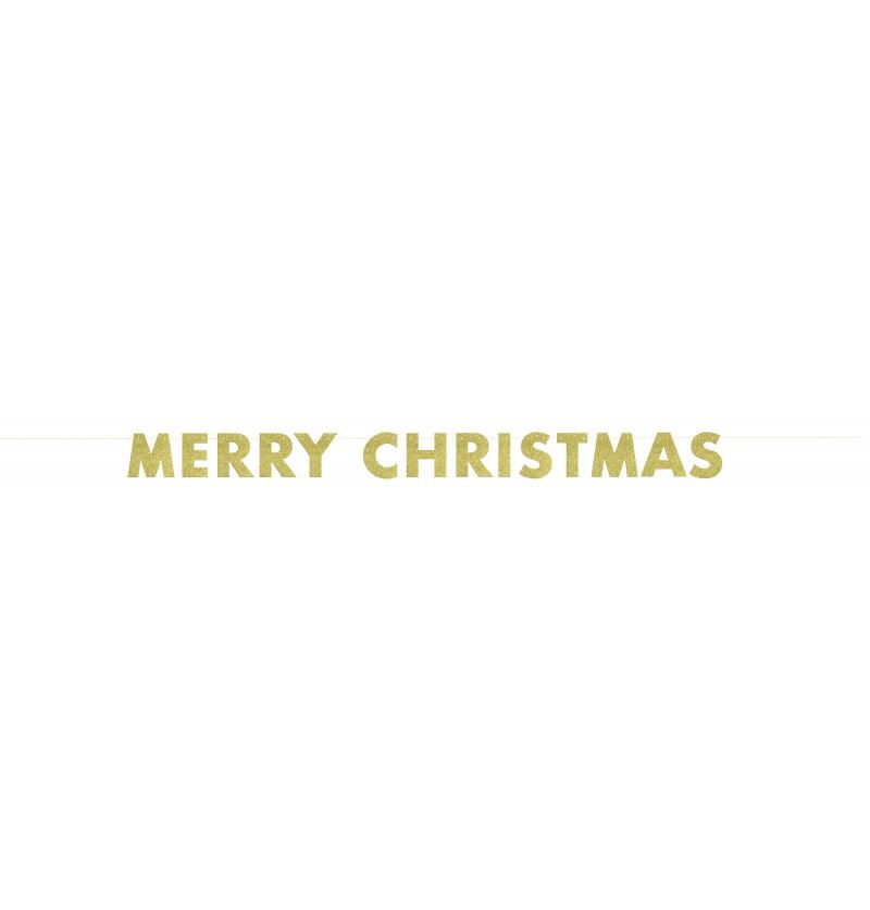 guirnalda dorada brillante merry christmas basic christmas