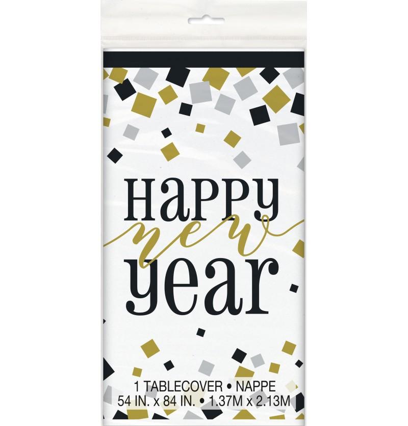 mantel rectangular de nochevieja happy new year