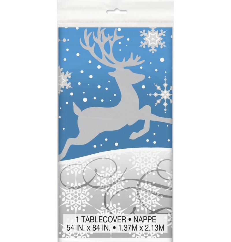 mantel rectangular azul con reno plateado silver snowflake christmas